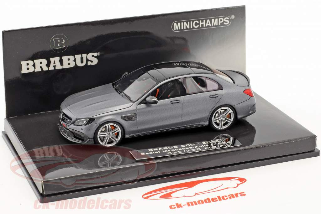 Brabus 600 based on Mercedes-Benz AMG C 63 S year 2015 mat gray metallic 1:43 Minichamps