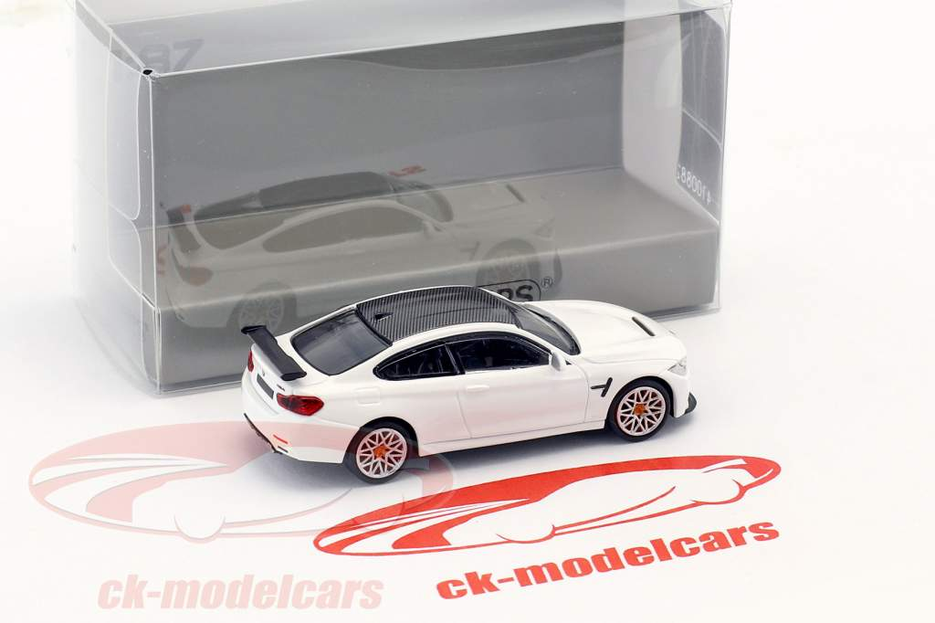 BMW M4 GTS year 2016 white with orange rims 1:87 Minichamps