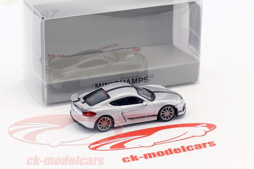 Porsche Cayman GT4 année de construction 2016 argent avec noir bande 1:87 Minichamps