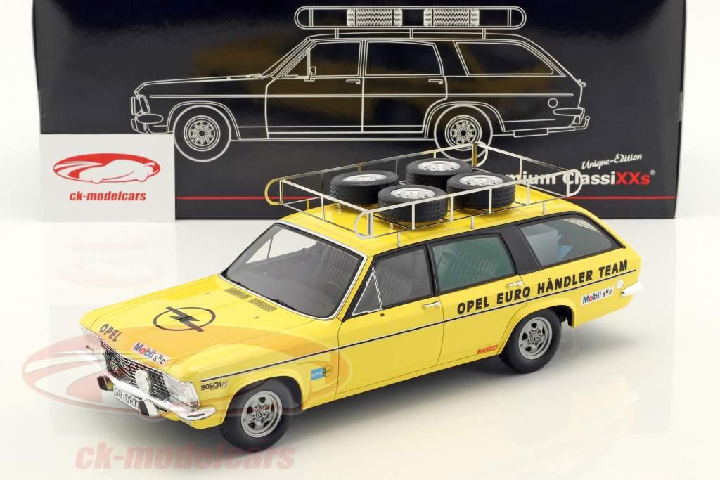 Opel Admiral B Caravan Construction year 1974 Opel Euro Händler Team yellow 1:18 Premium ClassiXXs