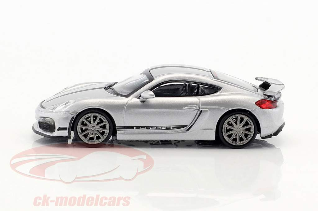 Porsche Cayman GT4  year 2016 silver with black stripe 1:87 Minichamps