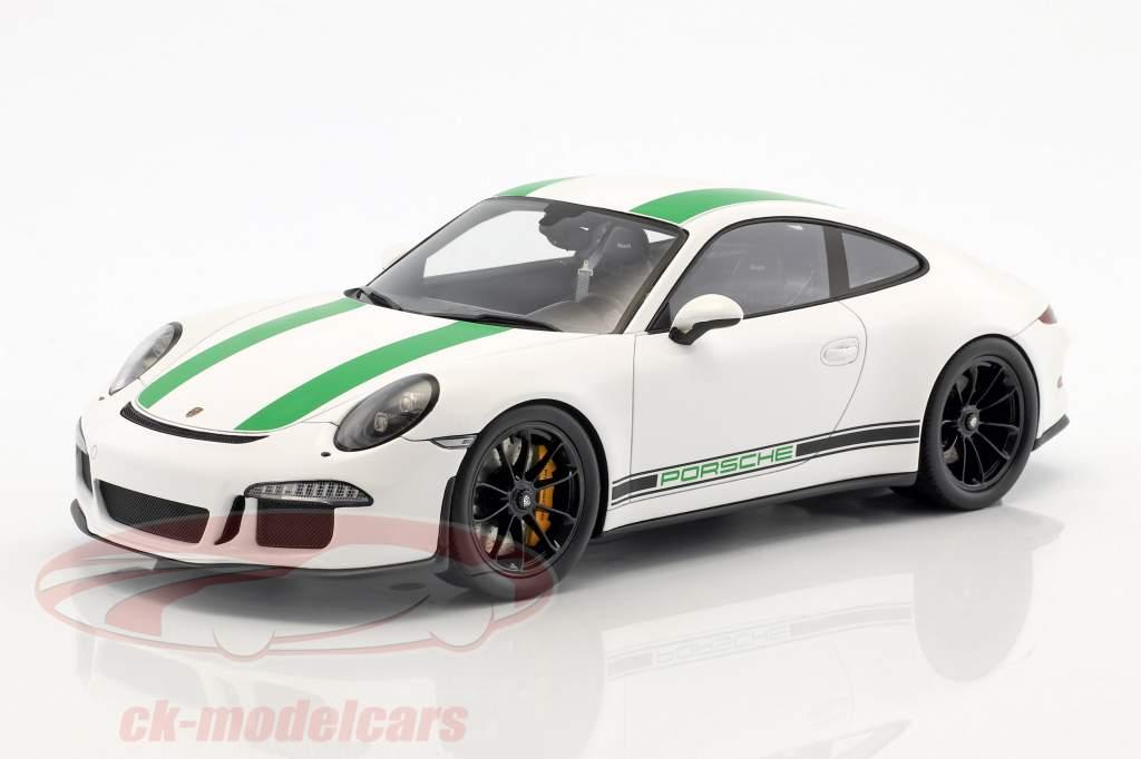 Porsche 911 R Bouwjaar 2017 wit / groen 1:18 Spark