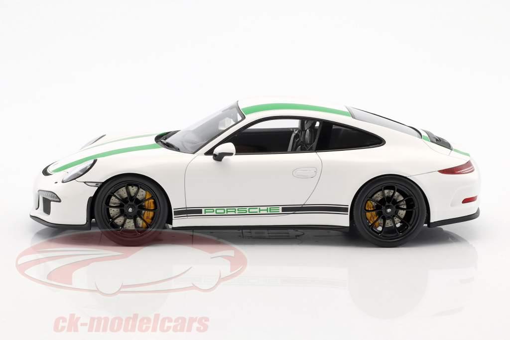 Porsche 911 R Opførselsår 2017 hvid / grøn 1:18 Spark