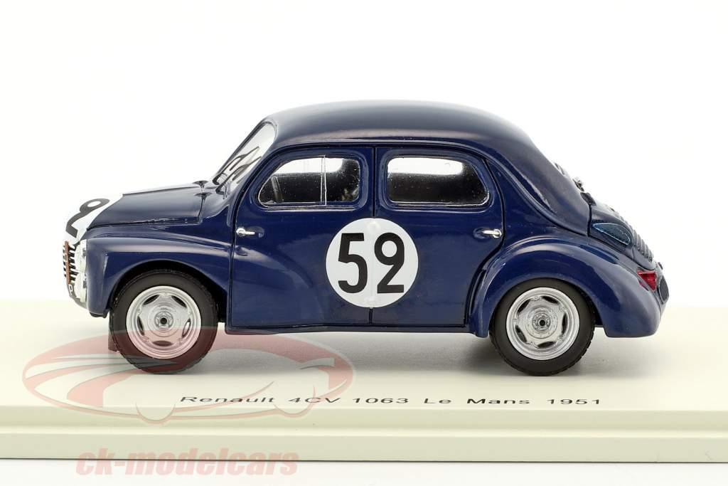 Renault 4CV 1063 #52 24h LeMans 1951 Sandt, Moser 1:43 Spark