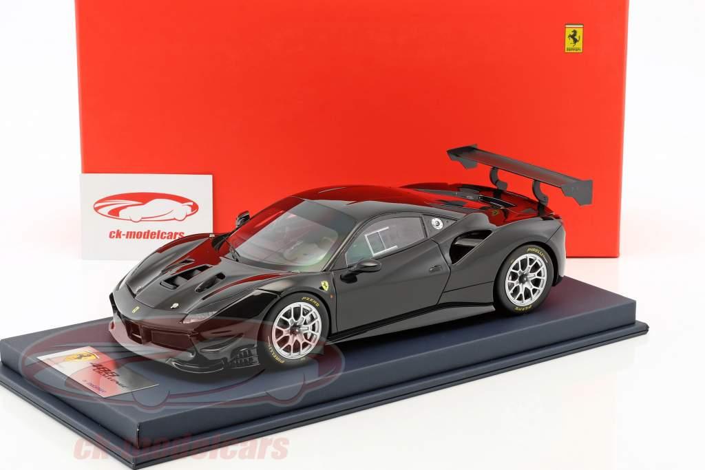 Ferrari 488 Challenge noir avec vitrine 1:18 LookSmart