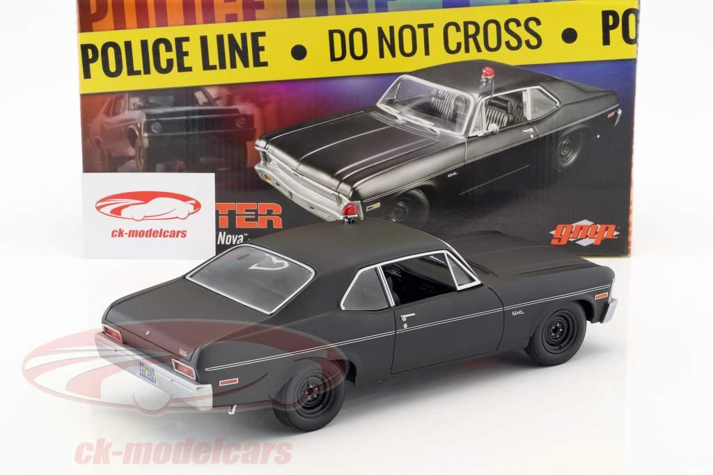 Chevrolet Nova politica anno di costruzione 1969 serie TV Hunter (1984-1991) nero 1:18 GMP