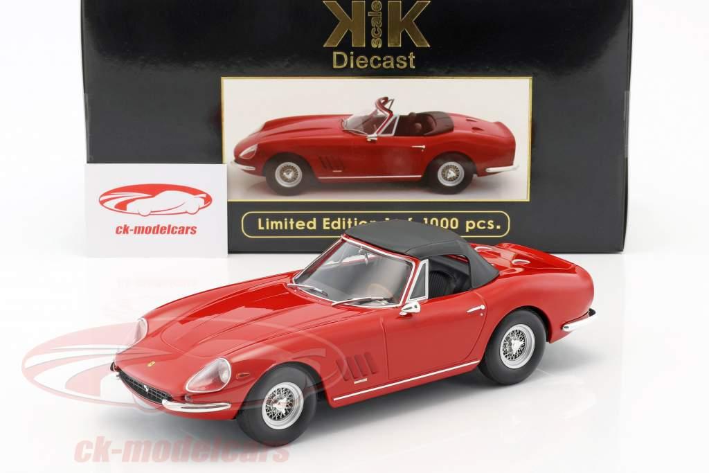 Ferrari 275 GTB4 NART Spyder mit Speichenfelgen Baujahr 1967 rot 1:18 KK-Scale