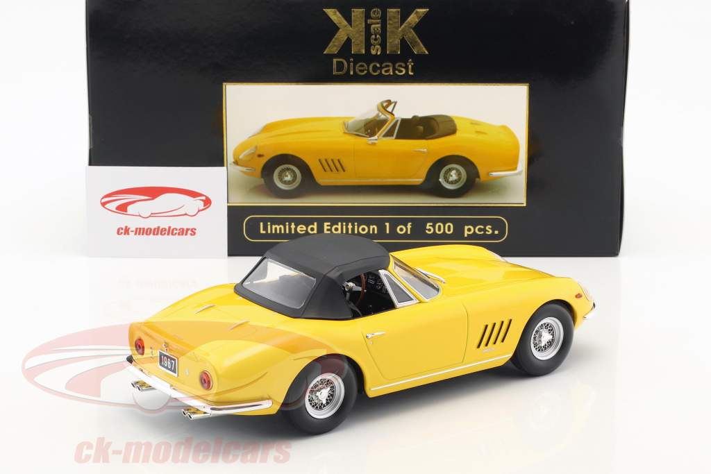 Ferrari 275 GTB4 NART Spyder avec rayon jantes année de construction 1967 jaune 1:18 KK-Scale