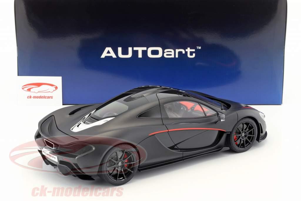 McLaren P1 year 2013 mat black / red 1:12 AUTOart