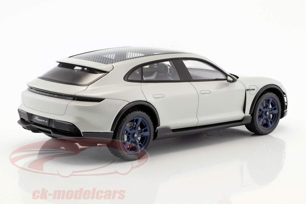 Porsche Mission E Cross Turismo ano de construção 2018 branco-cinza com mostruário 1:18 Spark
