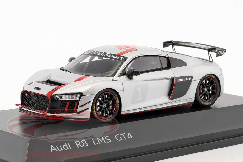 Audi R8 LMS GT4 Presentation Car silver / black / red 1:43 Spark
