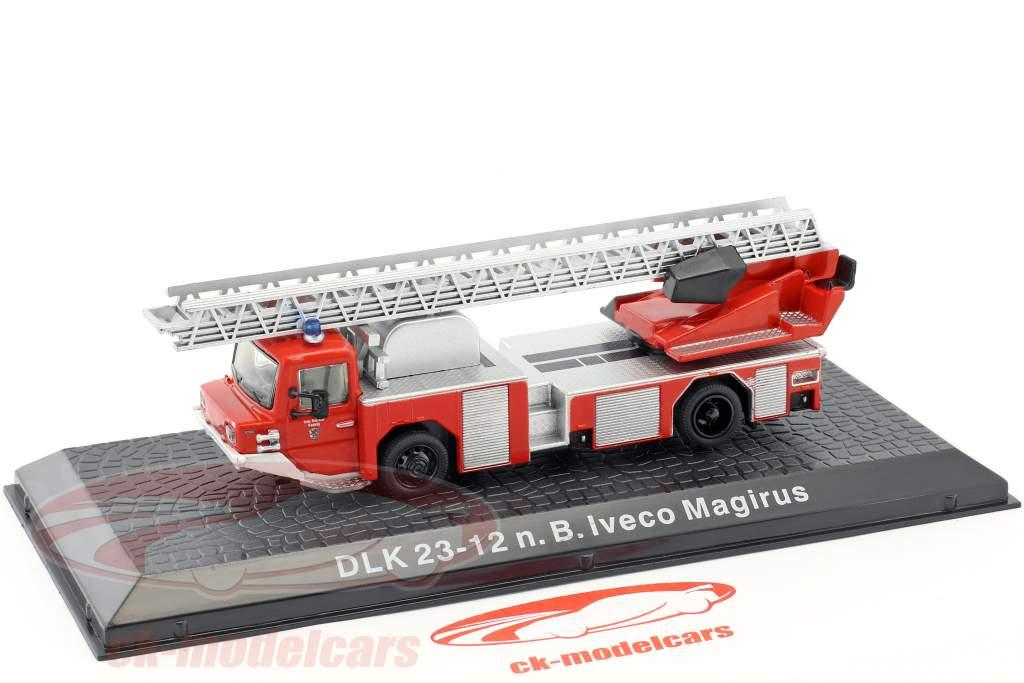 Iveco Magirus DLK 23-12 N.B. Opførselsår 1980 brandvæsen Kaufering rød 1:72 Altaya