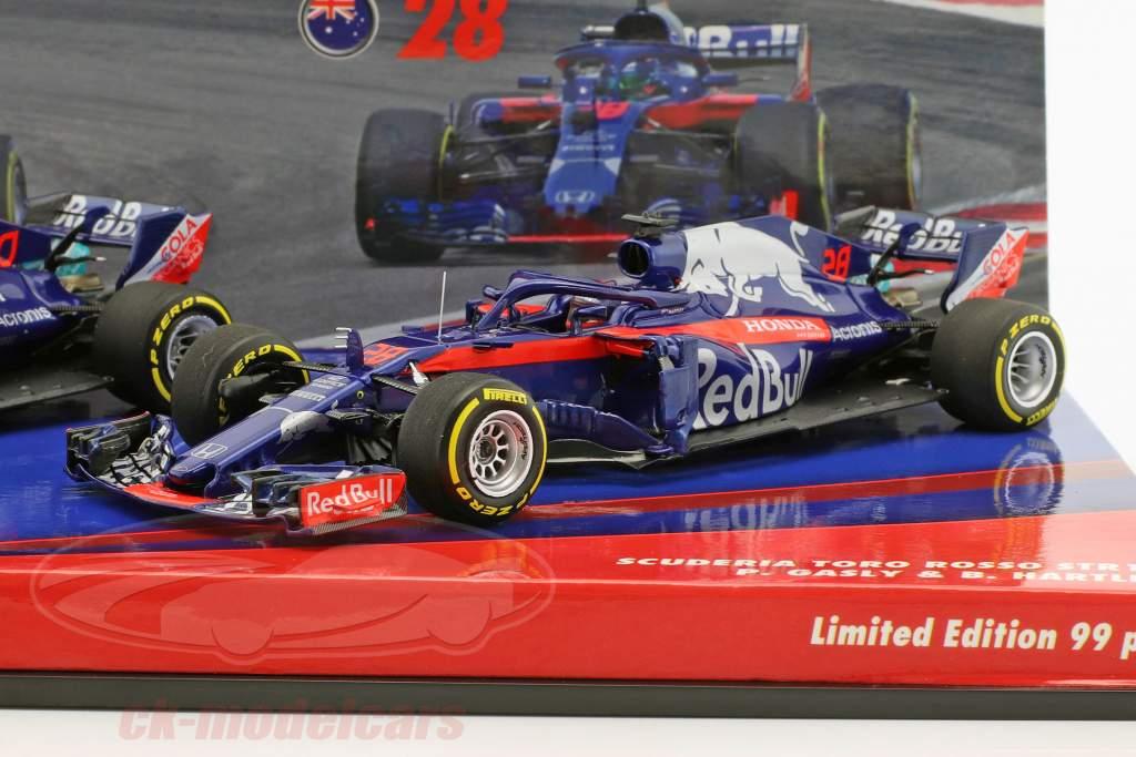 P. Gasly #10 & B. Hartley #28 2-Car Set Scuderia Toro Rosso STR13 formula 1 2018 1:43 Minichamps