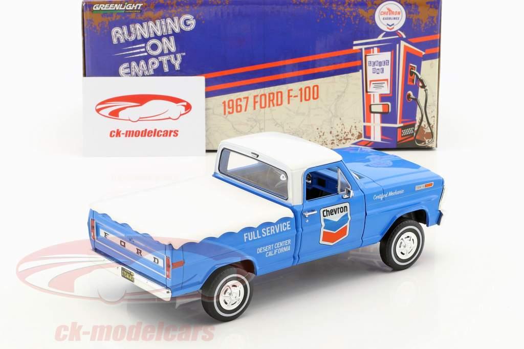 Ford F-100 scegliere su Chevron Fuel Service con copertura anno di costruzione 1972 blu / bianco 1:24 Greenlight