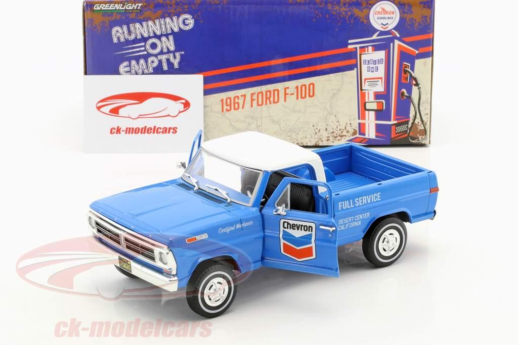Ford F-100 recoger hasta Chevron Fuel Service con cubierta año de construcción 1972 azul / blanco 1:24 Greenlight