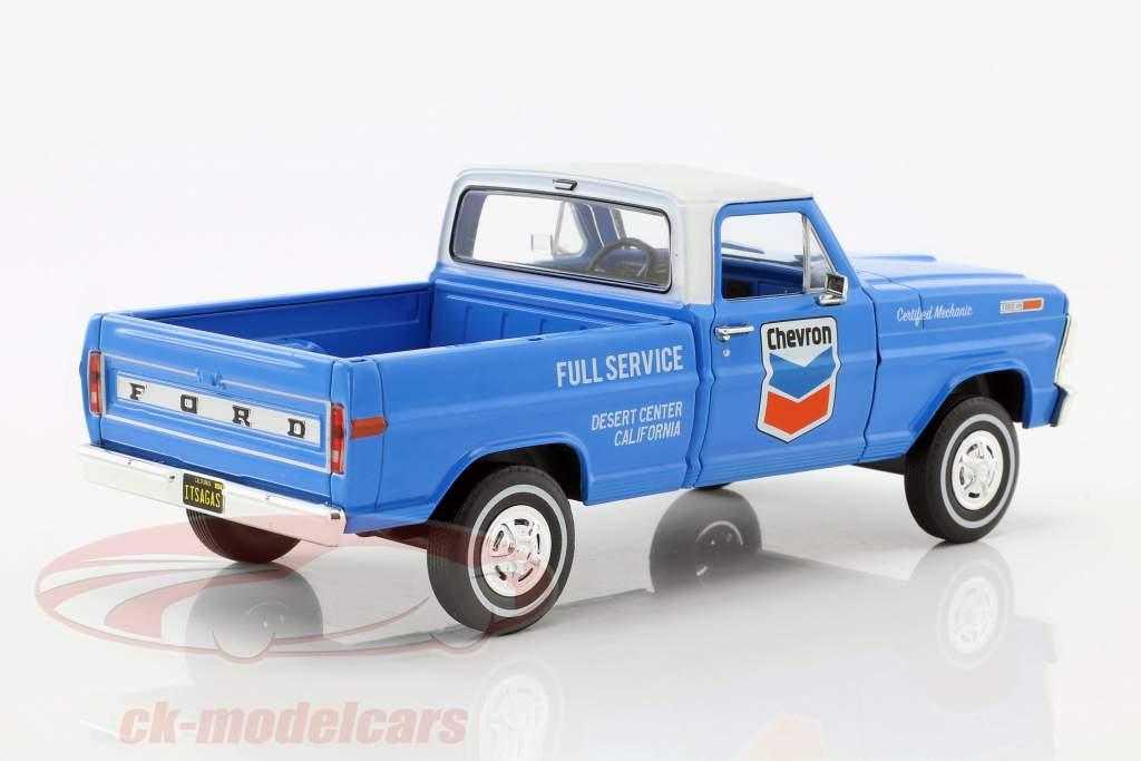 Ford F-100 escolher para cima Chevron Fuel Service com cobertura ano de construção 1972 azul / branco 1:24 Greenlight