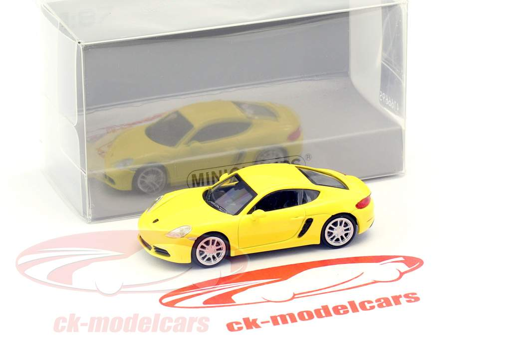 Porsche 718 Cayman year 2016 yellow 1:87 Minichamps
