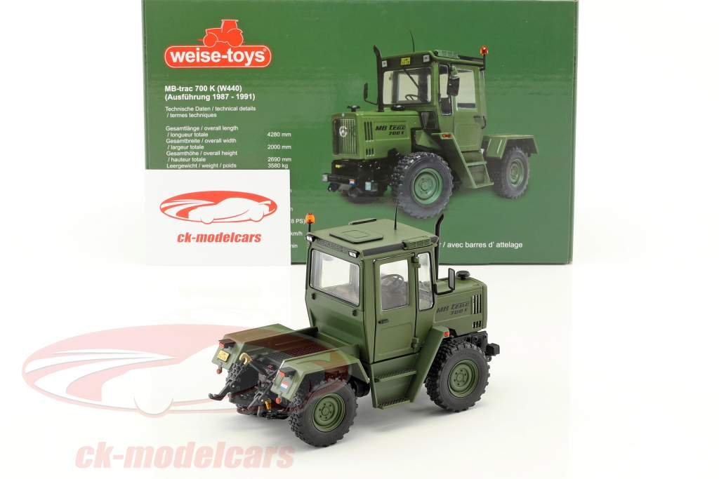 Mercedes-Benz MB-trac 700 K (W440) tractor military year 1987-1991 bronze-green 1:32 Weise-Toys