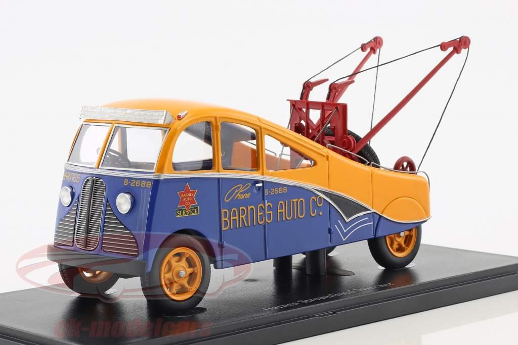 Barnes Streamlined Wrecker année de construction 1938 orange / bleu 1:43 AutoCult