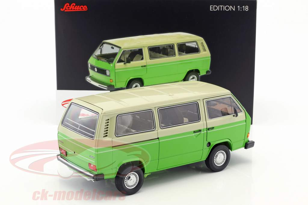 Volkswagen VW T3 bus Construction year 1979-82 green / beige 1:18 Schuco