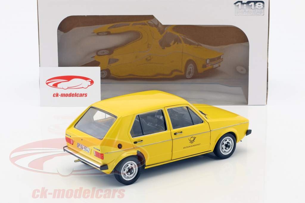 Volkswagen VW Golf 1 alemão Correios federais Ano de construção 1974 amarelo 1:18 Solido