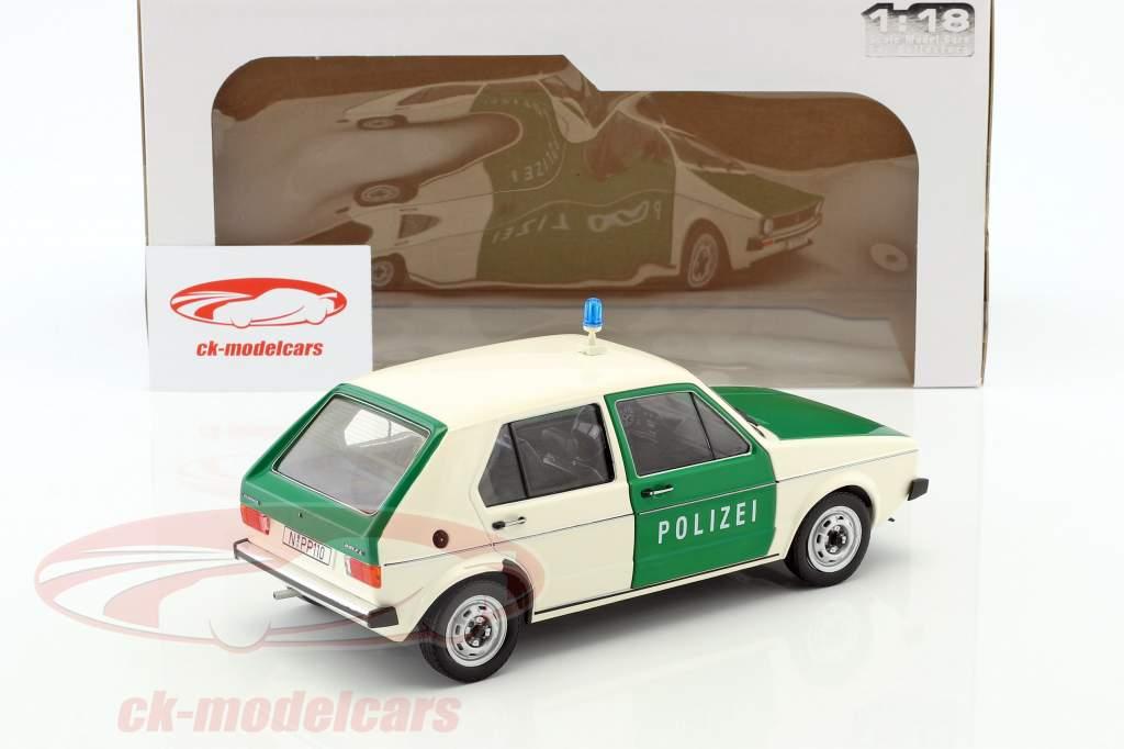 Volkswagen VW Golf 1 polícia Ano de construção 1974 verde / Branco 1:18 Solido