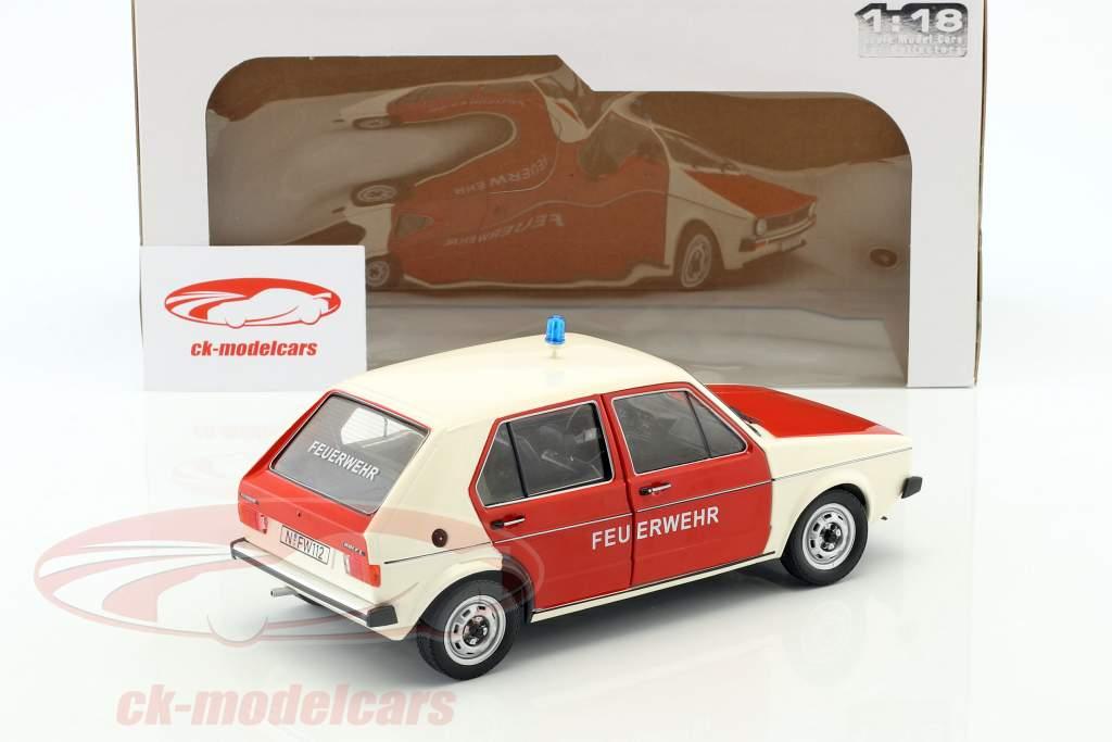 Volkswagen VW Golf 1 corpo de Bombeiros Ano de construção 1974 vermelho / Branco 1:18 Solido