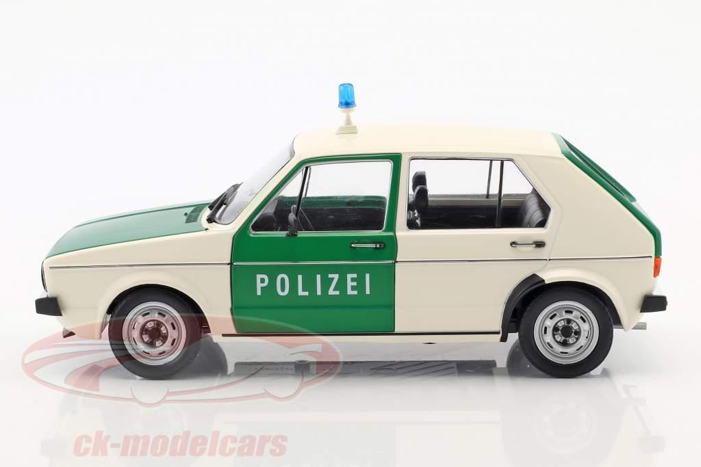 Volkswagen VW Golf 1 politi Byggeår 1974 grøn / hvid 1:18 Solido