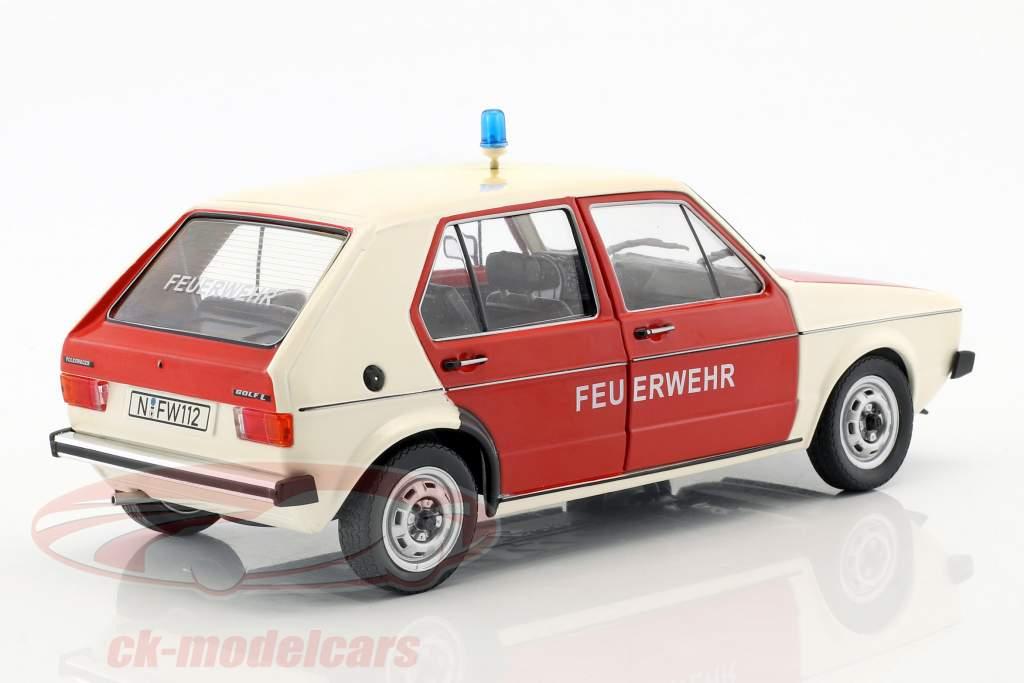 Volkswagen VW Golf 1 pompiers Année de construction 1974 rouge / blanc 1:18 Solido