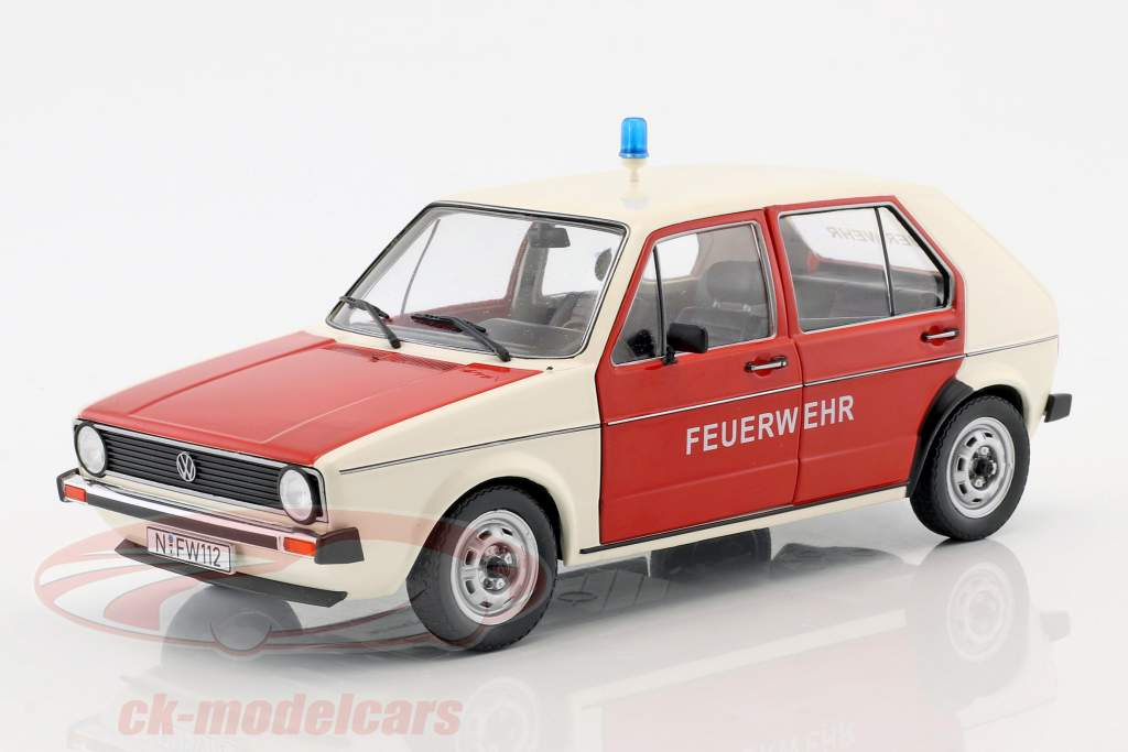 Volkswagen VW Golf 1 Brandvæsen Byggeår 1974 rød / hvid 1:18 Solido