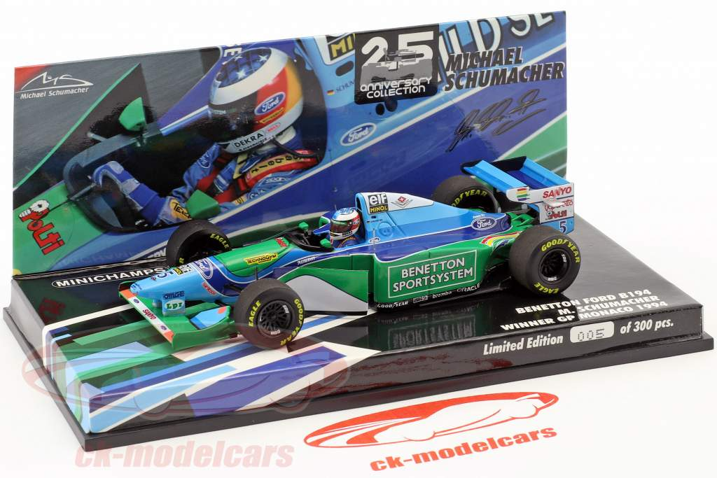 M. Schumacher Benetton B194 champion du monde Monaco GP formule 1 1994 1:43 Minichamps