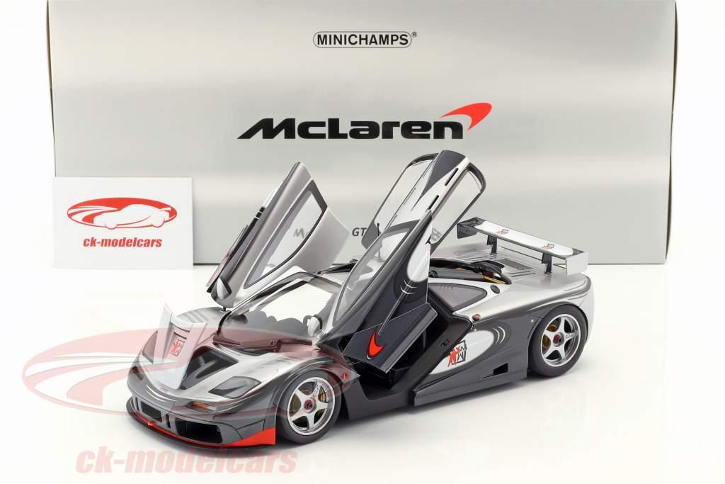 McLaren F1 GTR adrénaline programme argent / noir 1:18 Minichamps