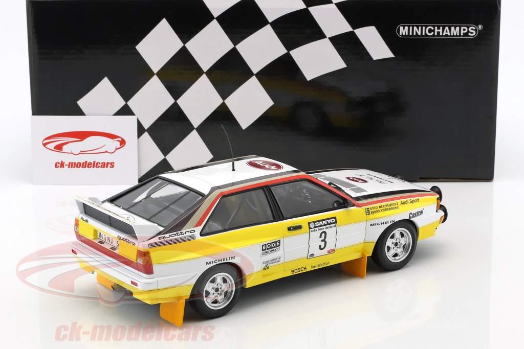 Audi Quattro A2 #3 vencedor Rallye nova Zelândia 1984 Blomqvist, Cederberg 1:18 Minichamps