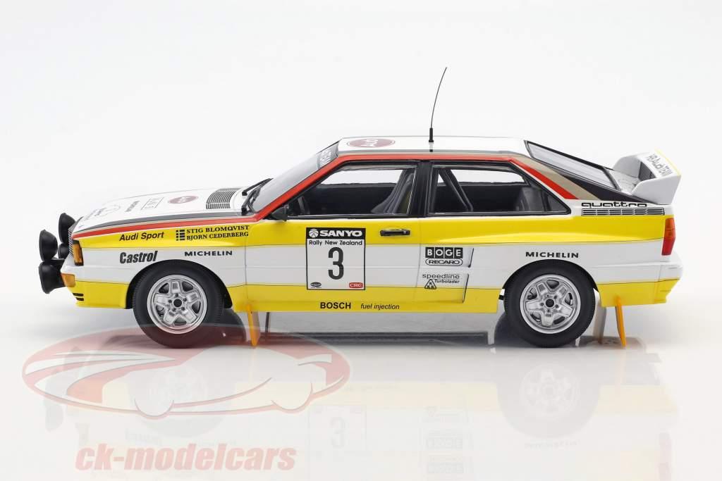 Audi Quattro A2 #3 ganador Rallye nueva Zelandia 1984 Blomqvist, Cederberg 1:18 Minichamps