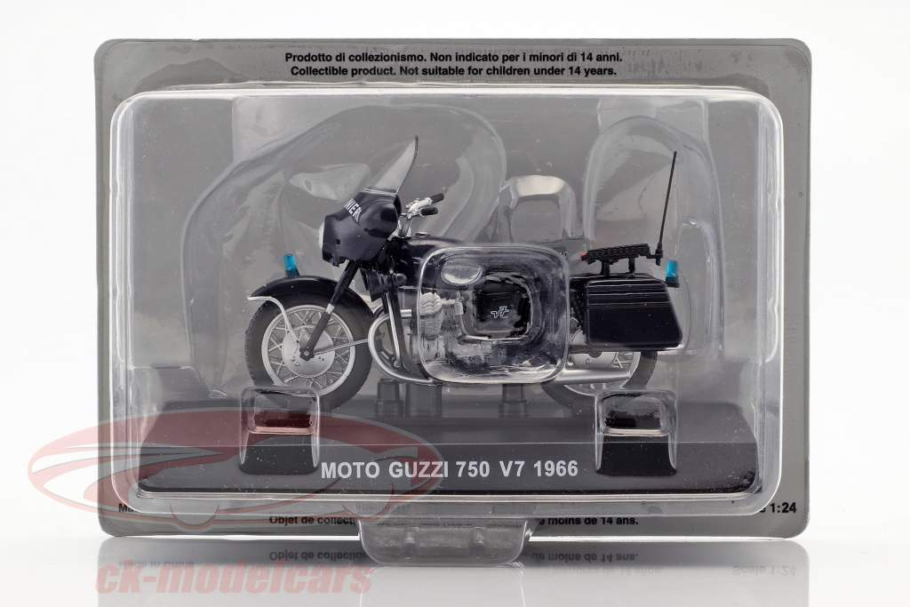 Moto Guzzi 750 V7 année de construction 1966 bleu foncé 1:24 Altaya