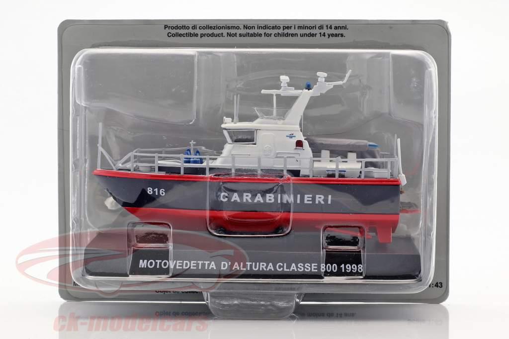 Motovedetta D'Altura Classe 800 année de construction 1998 bleu foncé / rouge 1:43 Altaya
