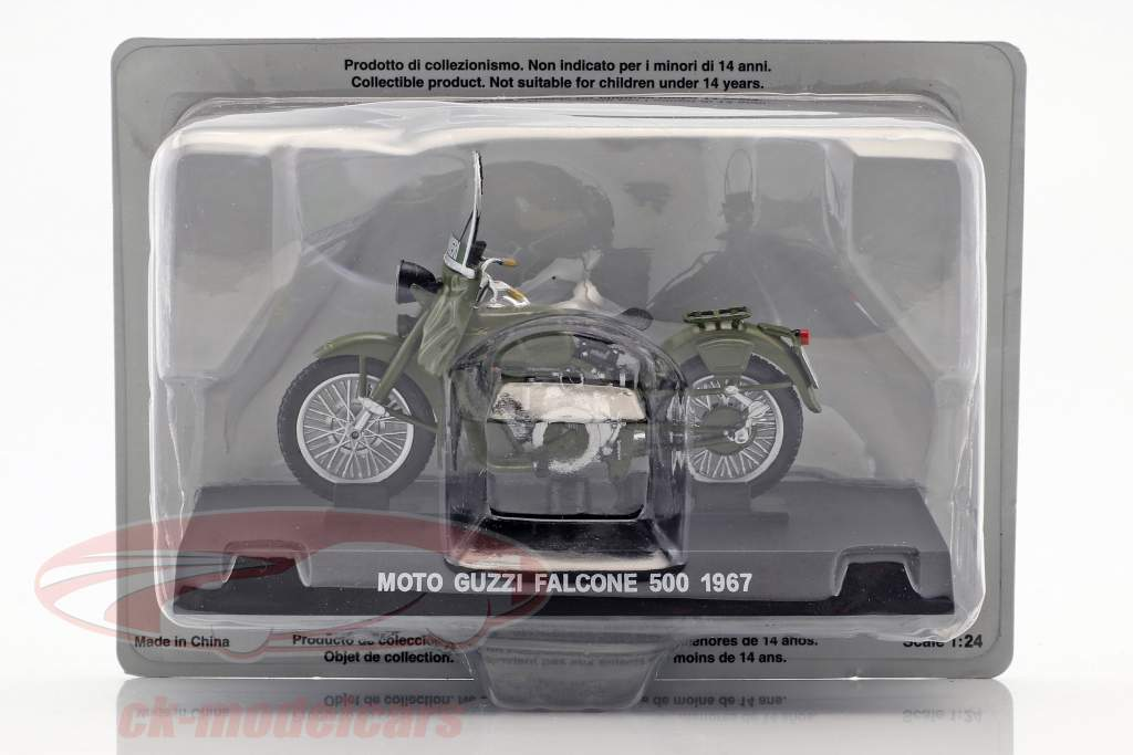 Moto Guzzi Falcone 500 year 1967 olive green 1:24