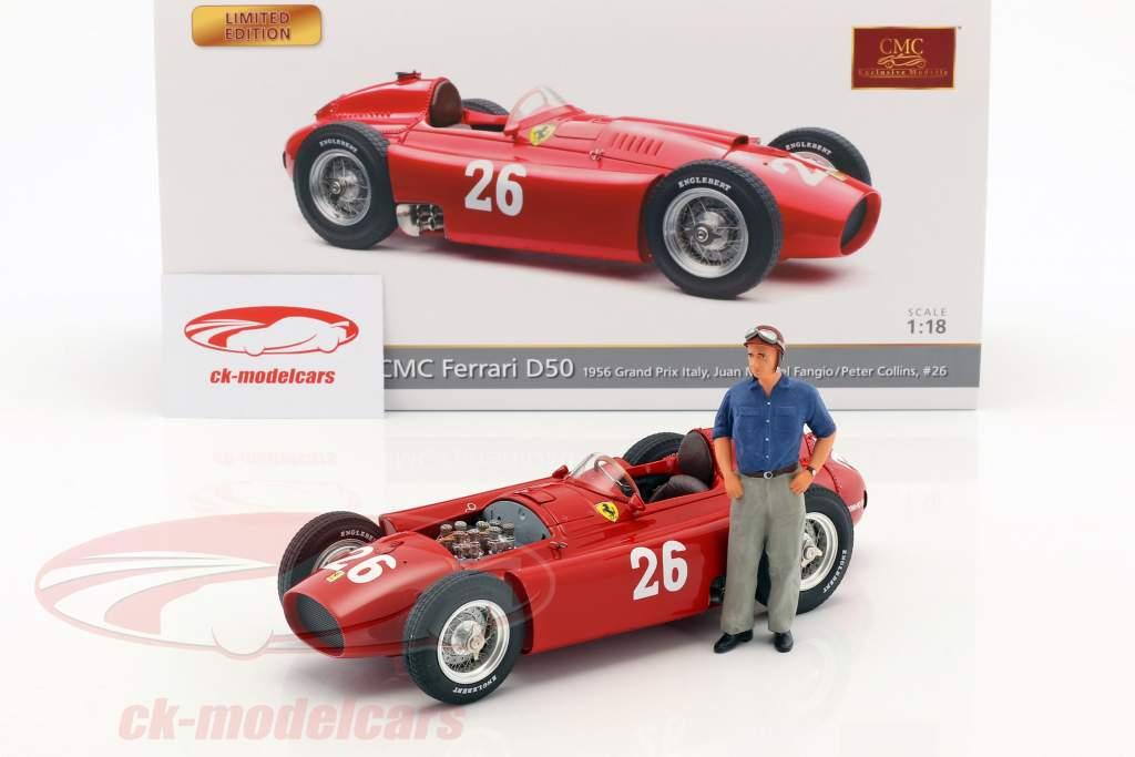 J.M. Fangio / P. Collins Ferrari D50 #26 2nd Italien GP Formel 1 1956 mit Figur J.M. Fangio 1:18 CMC