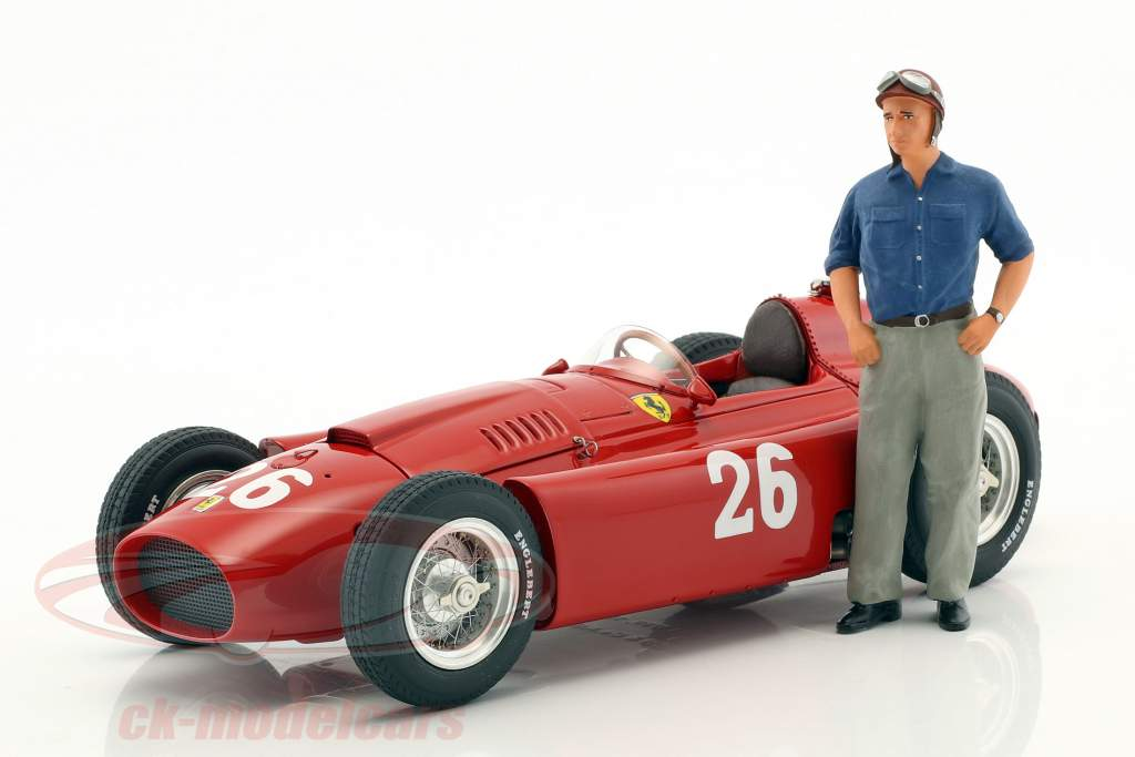J.M. Fangio / P. Collins Ferrari D50 #26 segundo Italia GP fórmula 1 1956 con figura J.M. Fangio 1:18 CMC