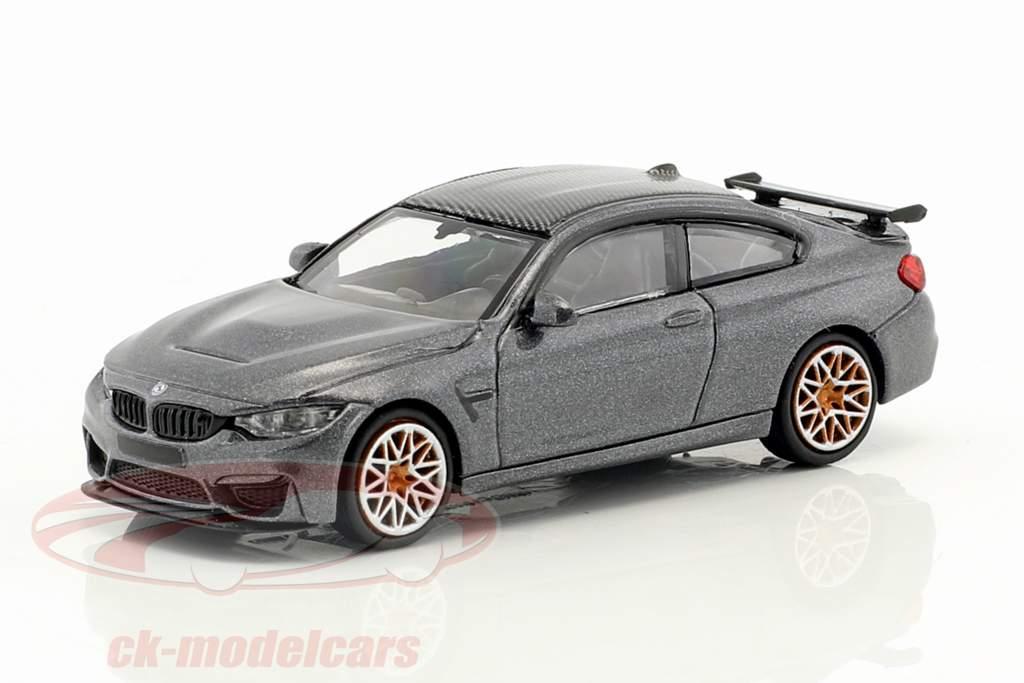 BMW M4 GTS Baujahr 2016 grau metallic mit orangefarbenen Felgen 1:87 Minichamps