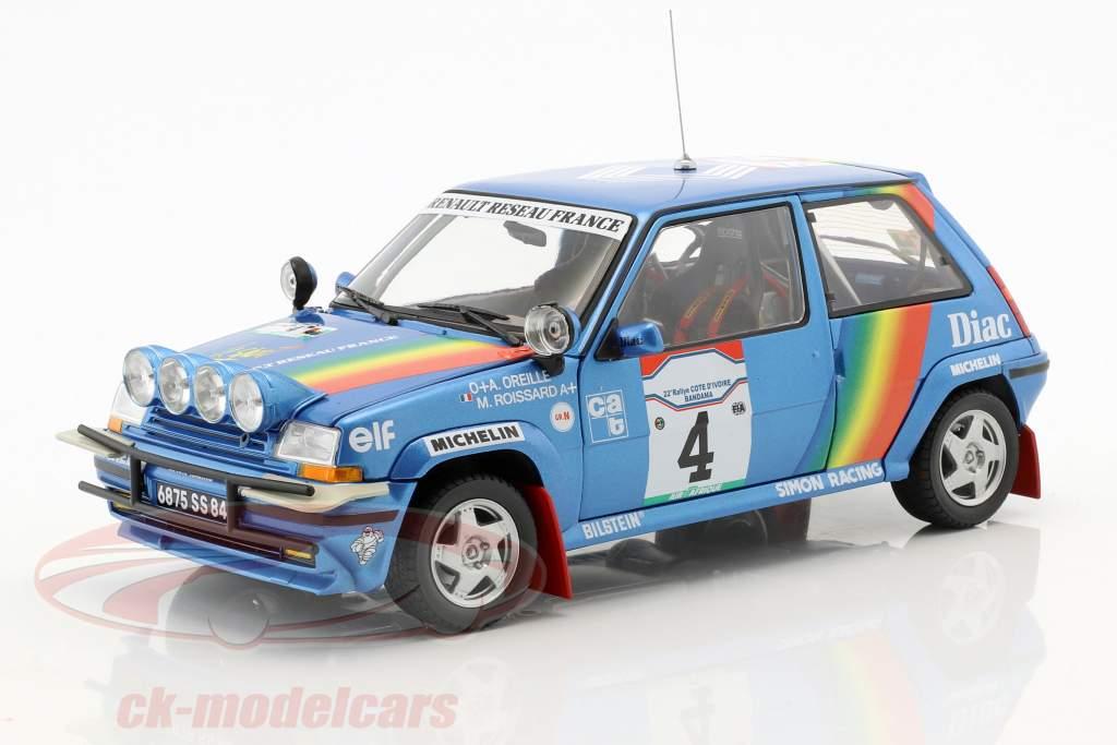 Renault Super Cinq GT Turbo #4 3 ° Rallye costa d'Avorio 1990 Oreille, Roissard 1:18 Norev
