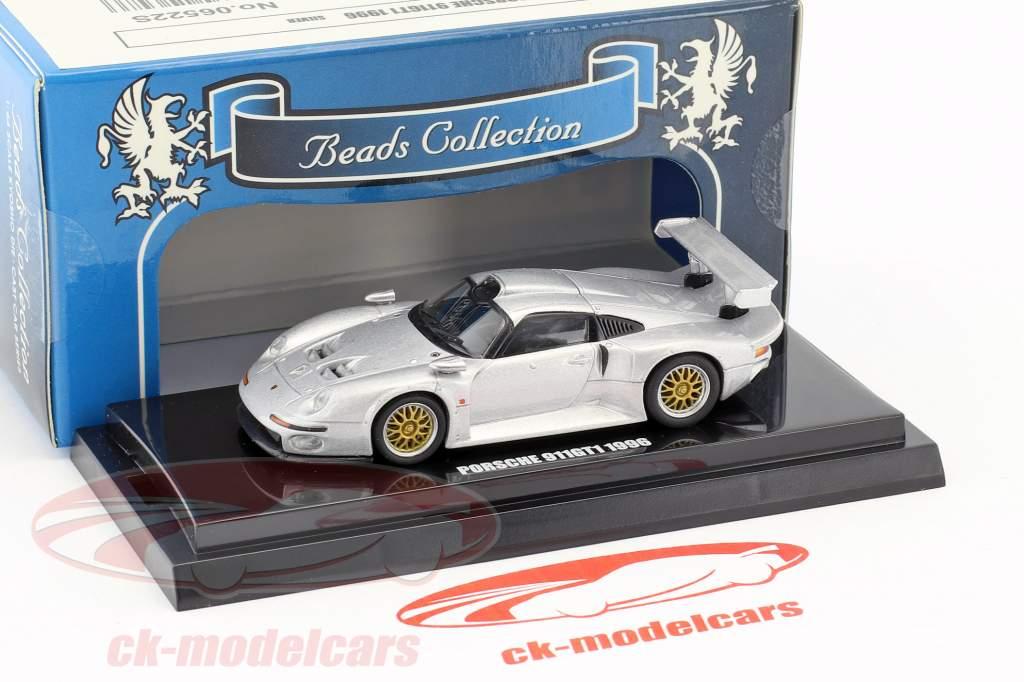 Porsche 911 GT1 Baujahr 1996 silber metallic 1:64 Kyosho