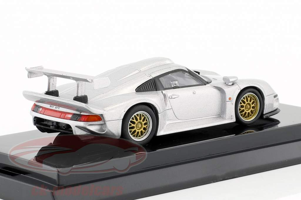 Porsche 911 GT1 Construction year 1996 silver metallic 1:64 Kyosho