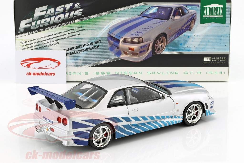 Brian's Nissan Skyline GT-R (R34) year 1999 Movie 2 Fast 2 Furious 2003 1:18 Greenlight