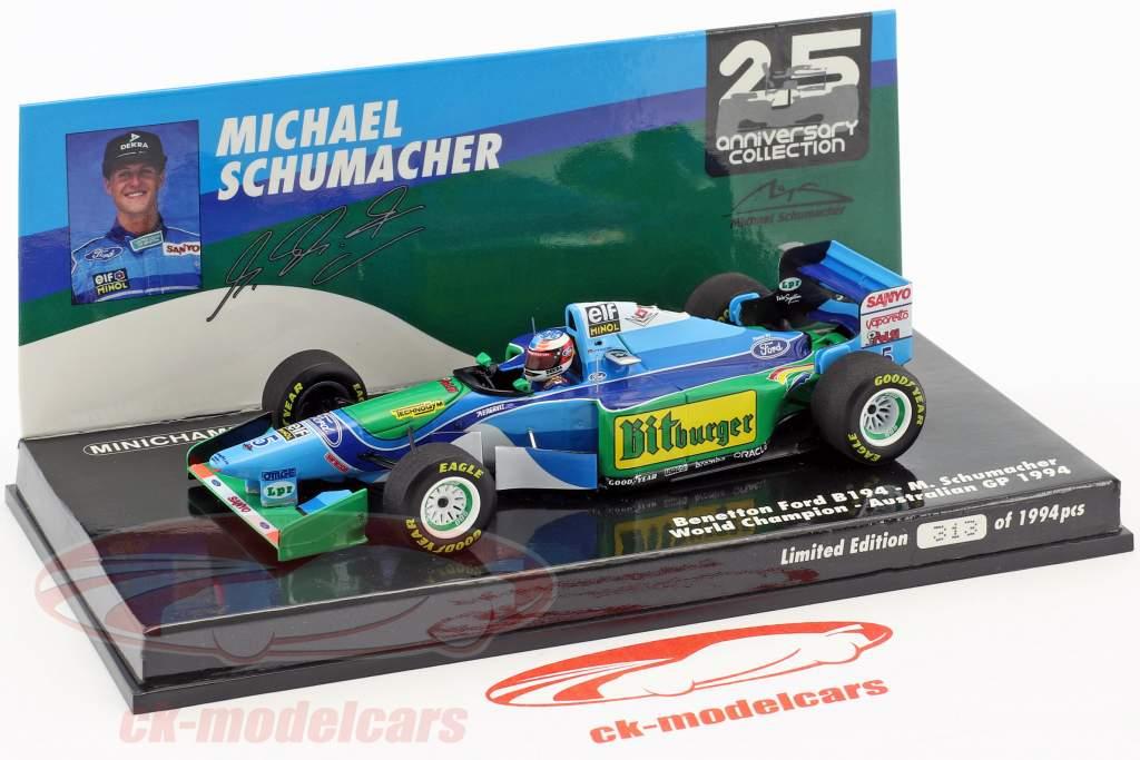 Michael Schumacher Benetton B194 #5 australiano GP campeón del mundo fórmula 1 1994 1:43 Minichamps