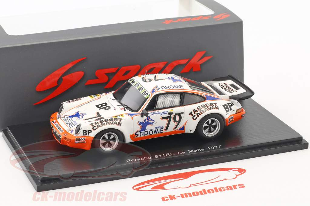 Porsche 911 Carrera RS #79 24h LeMans 1977 J.-L. Ravenel, J. Ravenel, Detrin 1:43 Spark