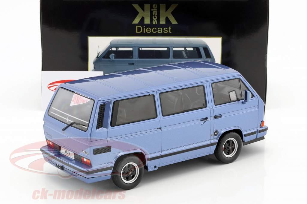 Porsche B32 basé sur Volkswagen VW T3 bus année de construction 1984 bleu clair métallique 1:18 KK-Scale