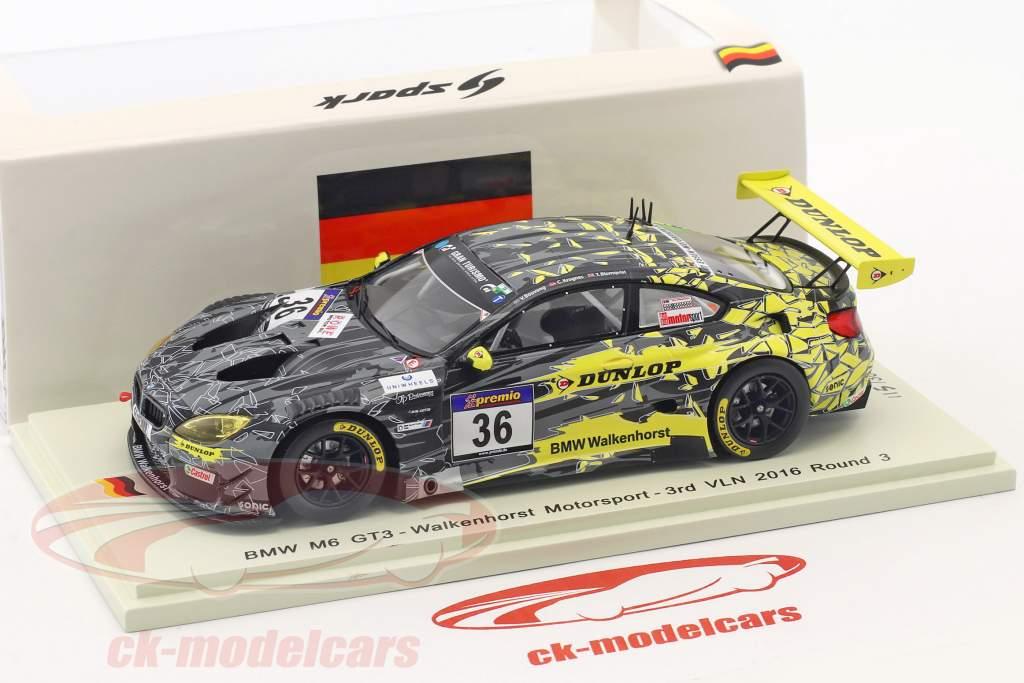 BMW M6 GT3 #36 3 ° VLN 2016 tondo 3 Krognes, Bouveng, Blomqvist 1:43 Spark