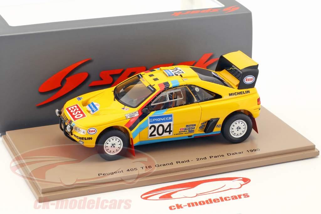 Peugeot 405 T16 Grand Raid #204 2 Rallye Dakar 1990 Waldegard, Fenouil 1:43 Spark