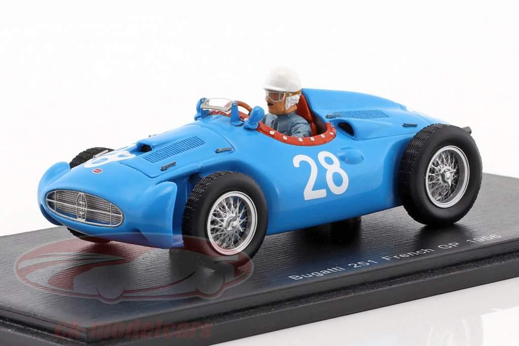 Maurice Trintignant Bugatti T251 #28 France GP formula 1 1956 1:43 Spark